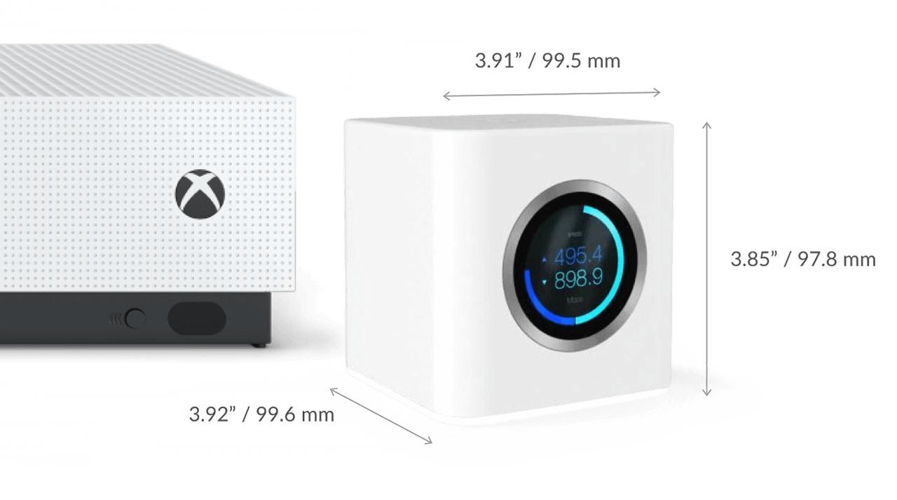 AmpliFi HD Mesh Router next to Xbox One S